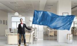 Man waving red flag . Mixed media Stock Photos