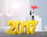 Man waving red flag standing on 2017 year. Golden numbers, on city buildings background Stock Photography