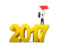 Man waving red flag standing on 2017 year Royalty Free Stock Photo