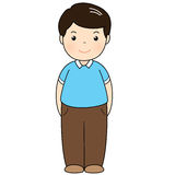 A man wear blue polo shirt standing. Illustration Royalty Free Stock Photos