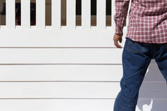 Man wear clothing blue jeans standing Stock Photo