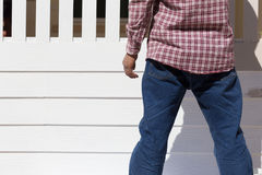 Man wear clothing blue jeans standing Royalty Free Stock Images