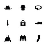 Man wear 9 icons set Stock Photography