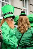 A man wear Ireland costume on St. Patrick`s Day Parade in Dublin, Ireland, March 18th 2015. A man wear Ireland costume on St. Patrick`s Day Parade in Dublin stock photos