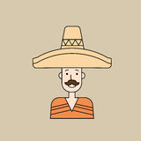 Man Wear Mexican Traditional Clothes Sombrero Thin Line Stock Photography
