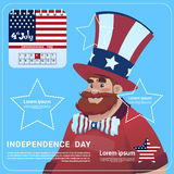 Man Wear United States Flag Colored Flag Independence Day Holiday 4 July Banner Greeting Card Stock Photo