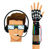 Man wear vr reality glasses wired glove fiction. Vector illustration eps 10 Stock Photos