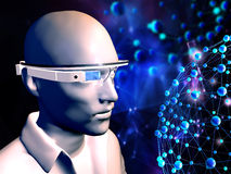 Man with  wearable computer technology. 3D rendering of man with  wearable computer technology with an optical head-mounted display, original design glasses Royalty Free Stock Photo