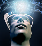 Man with  wearable computer technology with an optical head-mounted display Royalty Free Stock Images