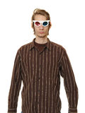 Man Wearing 3D Glasses Stock Photography
