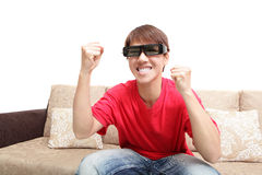 Man wearing 3d glasses watch tv Stock Photos