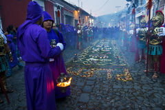 Man wearing ancient Roman military clothes and purple robes in a procession during the Easter celebrations, in the Holy Week, in A. Antigua, Guatemala - April 17 stock photography