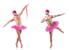The man wearing ballet tutu isolated on white Stock Image