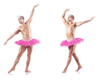 The man wearing ballet tutu isolated on white Stock Images