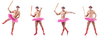 Man wearing ballet tutu isolated on white Stock Photos