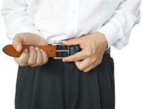 Man wearing belt Stock Photo