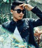 Man Wearing Black Button-up Collared Long-sleeved Shirt Stock Photos