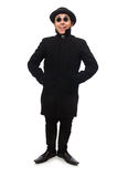 Man wearing black coat isolated on white Stock Photo