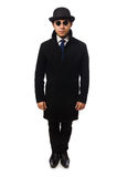 Man wearing black coat isolated on the white Royalty Free Stock Photography