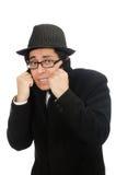 Man wearing black coat isolated on white Stock Image
