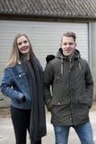 Man Wearing Black Coat and Woman Wearing Blue Denim Jacket Stock Photos