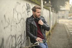 Man Wearing Black Full-zip Biker Jacket Royalty Free Stock Images