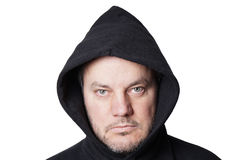 Man wearing black hoodie. Isolated on white Royalty Free Stock Photos