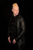 Man wearing black leather stock photos