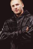 Man wearing black leather jacket Royalty Free Stock Photos
