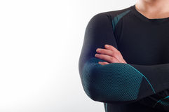 Man wearing black thermal base layer underwear. On white background royalty free stock photography