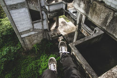 Man Wearing Black and White Vans Shoes Royalty Free Stock Image