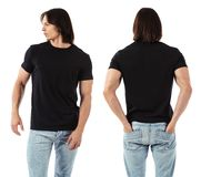 Man wearing blank black shirt Royalty Free Stock Photography