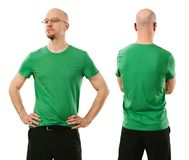 Man wearing blank green shirt Royalty Free Stock Images