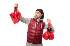 Man wearing boxing gloves isolated on white Stock Photo