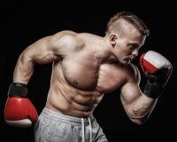 Man wearing boxing gloves Stock Photos