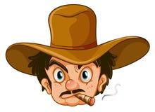A man wearing a brown hat while smoking Stock Image