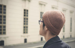 Man Wearing Brown Knit Cap in Selective Focus Photogaphy Royalty Free Stock Photo