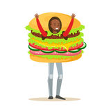 Man wearing burger costume, fast food snack character vector Illustration. Isolated on a white background Royalty Free Stock Photography