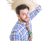 Man wearing Caipira clothes for the Brazilian Festa Junina.  royalty free stock photo
