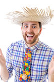 Man wearing Caipira clothes for the Brazilian Festa Junina Royalty Free Stock Images