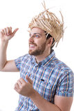 Man wearing caipira clothes. Can be used as Festa Junina or Country Festivals in Brazil Royalty Free Stock Photo