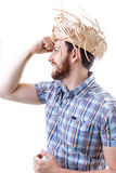 Man wearing caipira clothes. Can be used as Festa Junina or Country Festivals in Brazil Royalty Free Stock Photography