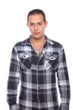 Man wearing checked shirt Stock Images