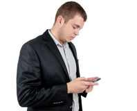 Man wearing checking his mobile Royalty Free Stock Images