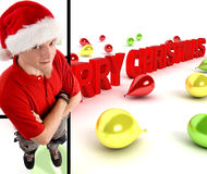 Man wearing christmas hat. With three dimensional merry christmas text Stock Image