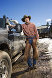 Man Wearing Cowboy Hat Standing Beside Truck Royalty Free Stock Photo