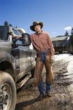 Man Wearing Cowboy Hat Standing Beside Truck. Man wearing a cowboy hat and leaning against a pickup truck. Vertical shot Royalty Free Stock Photo