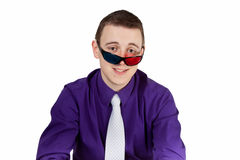 Man wearing 3D-eyeglasses. Young man waring 3D-eyeglasses - isolated on white royalty free stock photo