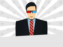 Man wearing 3D glasses. Background with rays and stars. Vector. Illustration Stock Photo