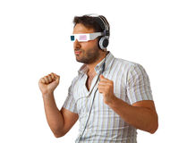 Man Wearing 3d Glasses and headphones Royalty Free Stock Image